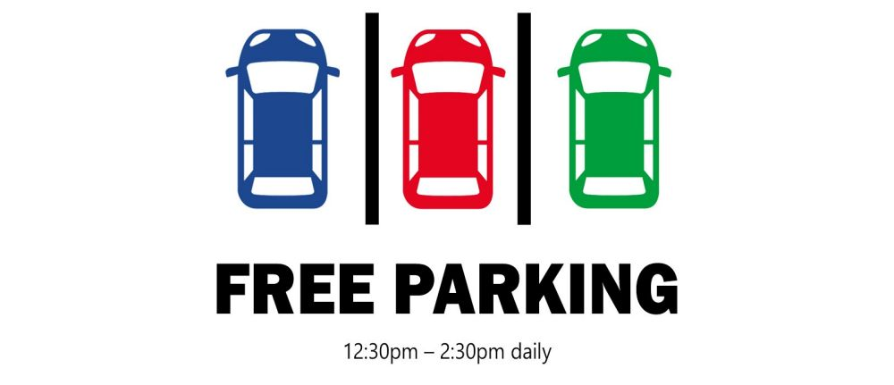 Free Parking from 12.30pm to 2.30pm daily