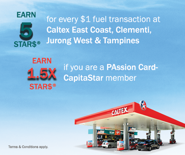 Earn STAR$® at Caltex Clementi, East Coast, Jurong West