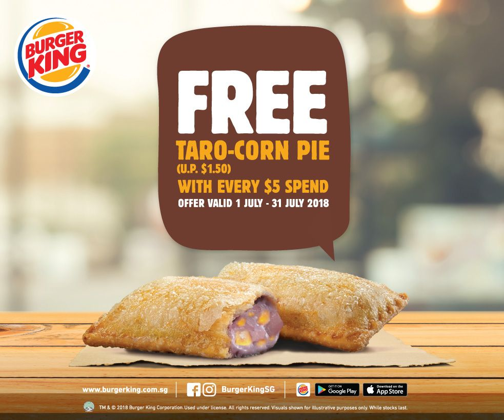 Free taro corn pie (worth $1.50) with every $5 spend