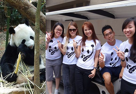 Presenting the Panda Party Planners! From left: Jasmine Chew, Lioe Hui Yi, Jean Ong, Steven Goh and Violet Lai