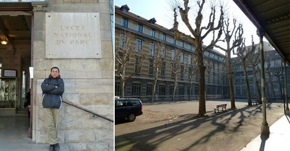 Mr Chan (seen here when he revisited his alma mater Lycee du Parc (Lyon) in February 2012) got a taste of the international life when he went to France to study and has not looked back since