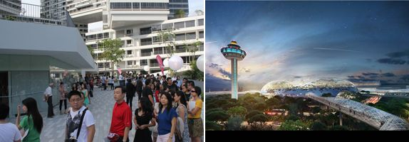 (Left) In September 2013, CapitaLand held the first ever TOP party to celebrate the completion of The Interlace; (Right) The Group has also partnered Changi Airport Group to jointly develop and own Project Jewel, which will be an iconic mixed-use development at Changi Airport