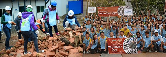 (Left) 80 CapitaLand staff and community volunteers participated in the Sichuan Post-earthquake Rebuilding Project in China to make a difference; (Right) 200 CapitaLand staff volunteers spent a fulfilling day to improve 20 homes of the underprivileged at the Group's first Volunteers Day in November 2013