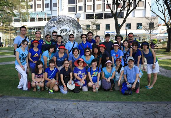 Me (2nd row, 1st from left) at my first-ever teambuilding event with her colleagues to the Pearl of the Orient, Penang