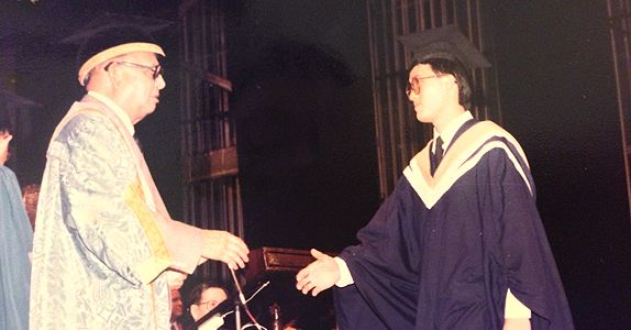 On Graduation Day at the National University of Singapore where Mr Tan studied Civil Engineering