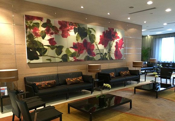 Eric Chan's Crimson Passion exudes a commanding presence in the lobby of Citadines Mount Sophia