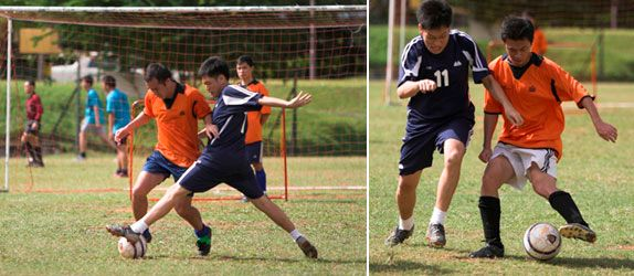 A football enthusiast, Mr Goh (in blue), picked up the sport actively while in junior college