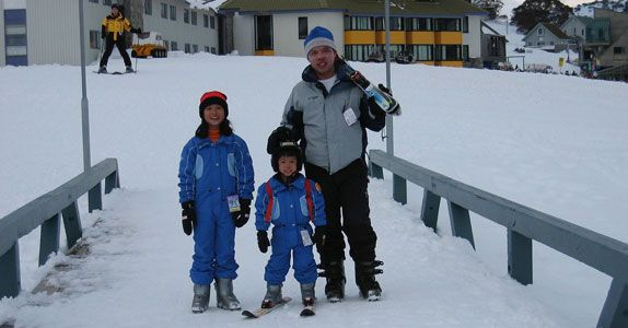 Vincent and his family at a skiing trip in Australia