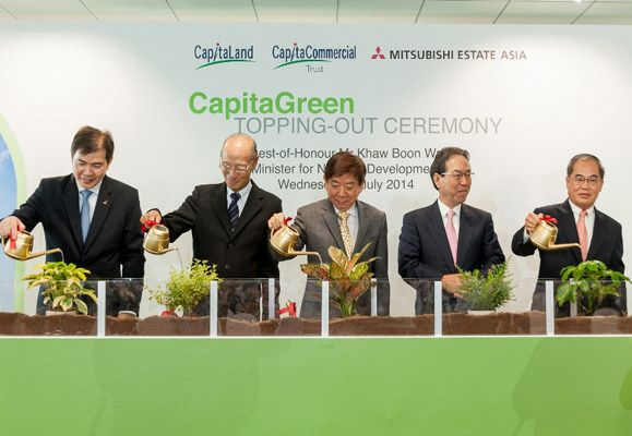 CapitaCommercial Trust marks its 10th year as CapitaGreen topping out ceremony is graced
