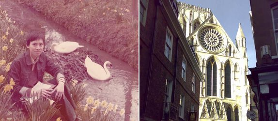 (Left) A youthful Mr Wong, during spring at the Backs in the late 1970s when he read architecture in Cambridge University; (right) A shot of York Minster in sunlight framed by historic buildings