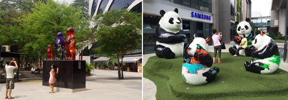 The Jelly Babies family by Mauro Perucchetti at Plaza Singapura, and the Westgate Panda Family by Julien Marinetti