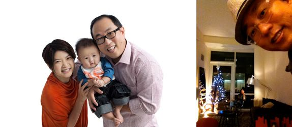 (Left) Mr Leong with his wife, who is also an architect, and their 15-month-old son; (Right) Mr and Mrs Leong celebrating Christmas in 2011