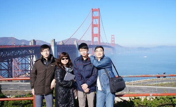 Chee Khang and family at the famed Golden Gate Bridge in San Francisco.
