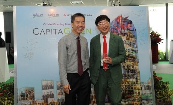 Mr Poon(left) with Mr Toyo Ito, concept architect of CapitaGreen at the building's official opening on 9 September 2015