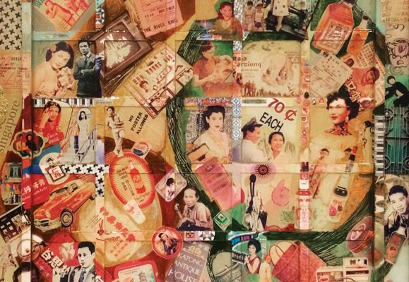 Part of an artwork titled 'Singapore Memoir' by Ketna Patel, composed of images of film stars, cars, cosmetic items, soft drink labels and more – all belonging to a bygone era.