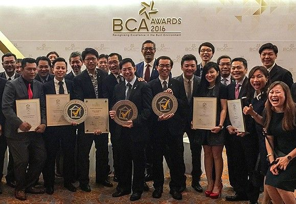 The beaming proud winners of CapitaLand with their BCA Awards haul