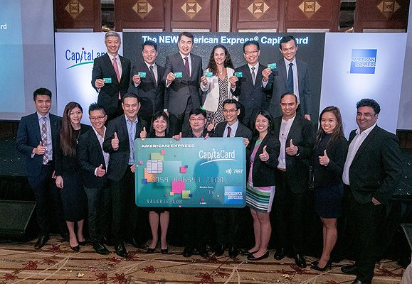 The CapitaLand and American Express teams celebrate the launch of the American Express CapitaCard on 7 July 2016.
