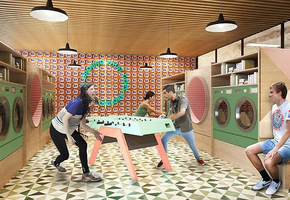 An artist's impression of a potential lyf property, the 'Wash and Hang' Laundromat doubles up as a social space for travellers.