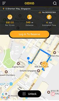 The oBike app also tells you how far you have to walk to collect your shared bicycle and how much it'll cost.