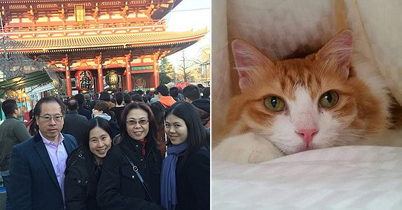 (Left) Mr Tan and his family during a visit to a temple in Japan on New Year's Day; (Right) Cookie the cat is a dear member of the family and, at one point in time, lived in Japan too!