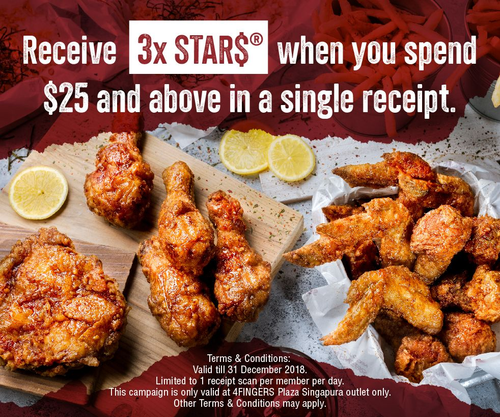 Earn 3X STAR$® at 4FINGERS with $25 spend
