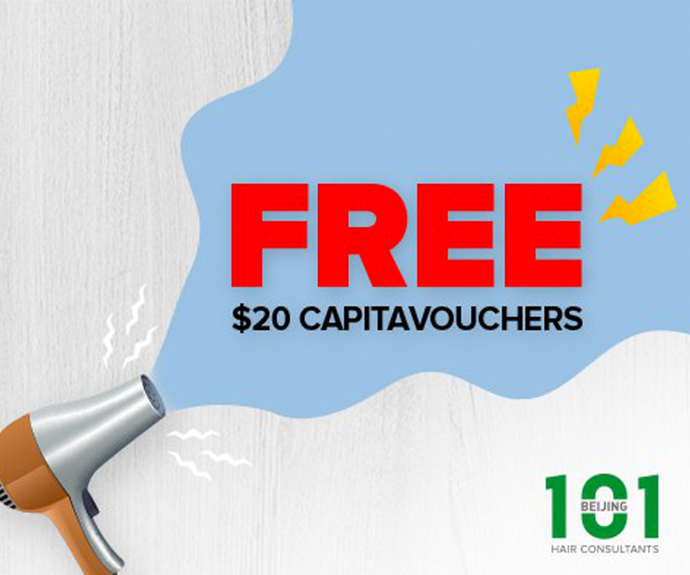 $20 CapitaVouchers FREE with purchase of Signature Meridian Hair Treatment at $42 (U.P. $424)