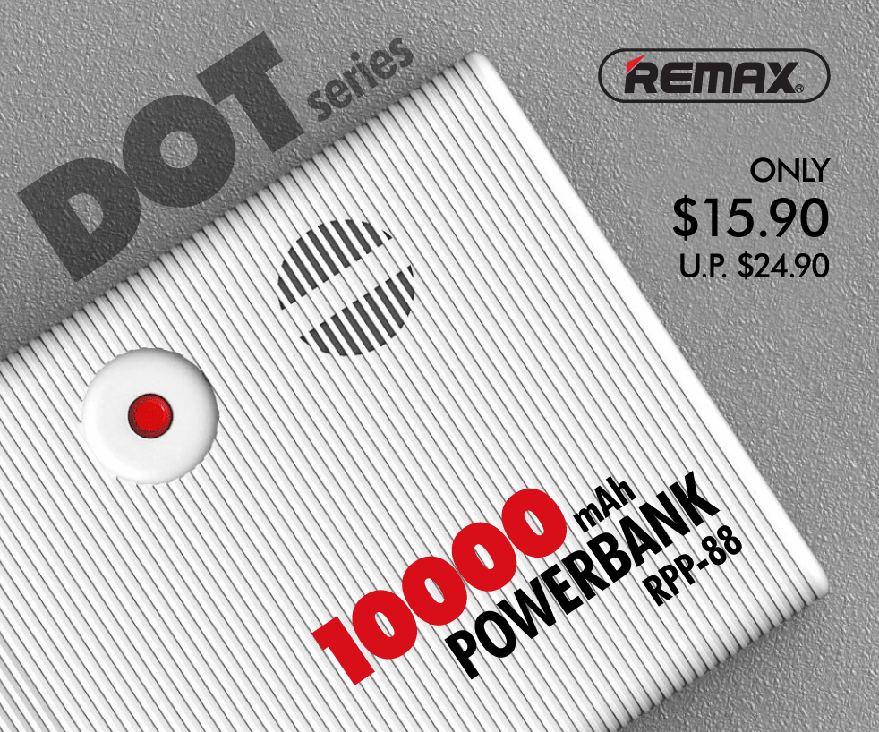 REMAX RPP-88 DOT SERIES 10,000mAh Powerbank at $15 90 (U P  $24 90