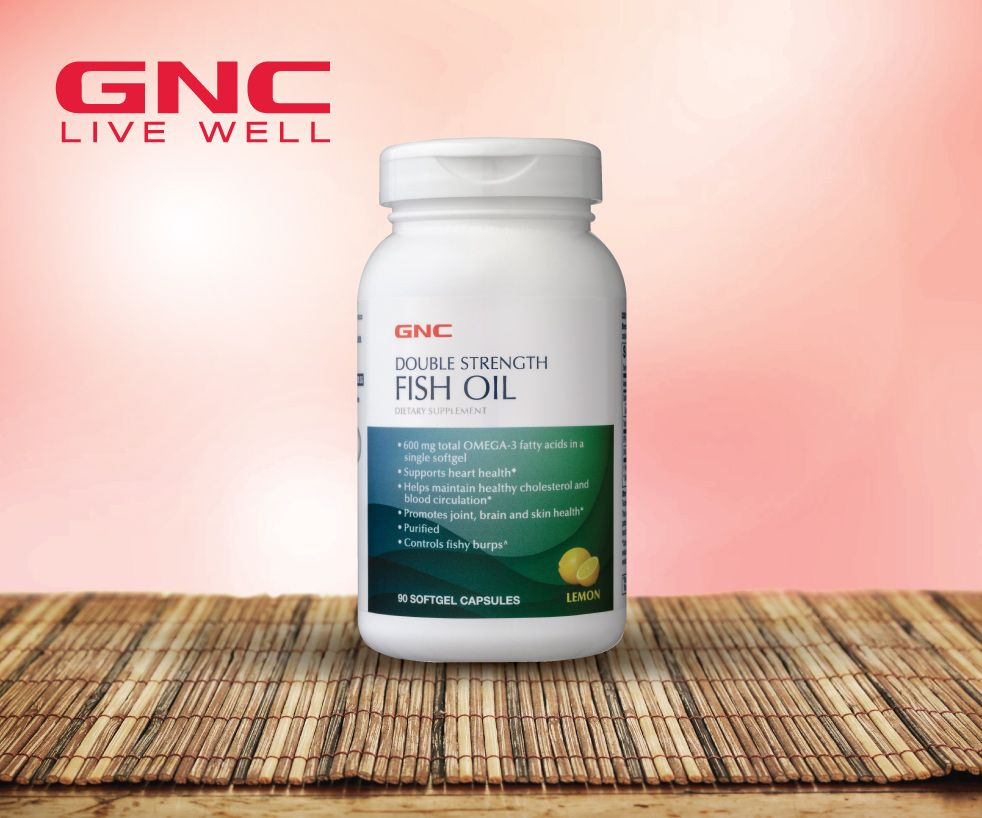 25% Off GNC Double Strength Fish Oil Lemon Flavoured (90 softgels)