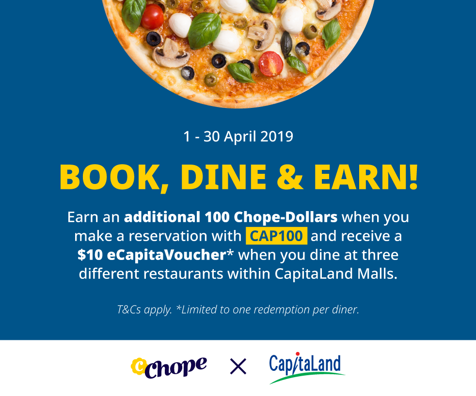 Chope, Dine & Earn $10 eCapitaVoucher